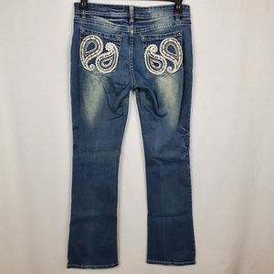 Red Label London sz 28 distressed bootcut bling